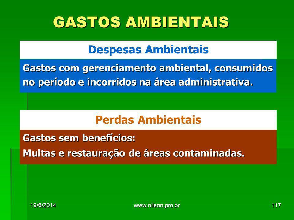 GASTOS AMBIENTAIS Gastos com gerenciamento ambiental, consumidos no período e incorridos na área administrativa. Despesas Ambientais Gastos sem benefí