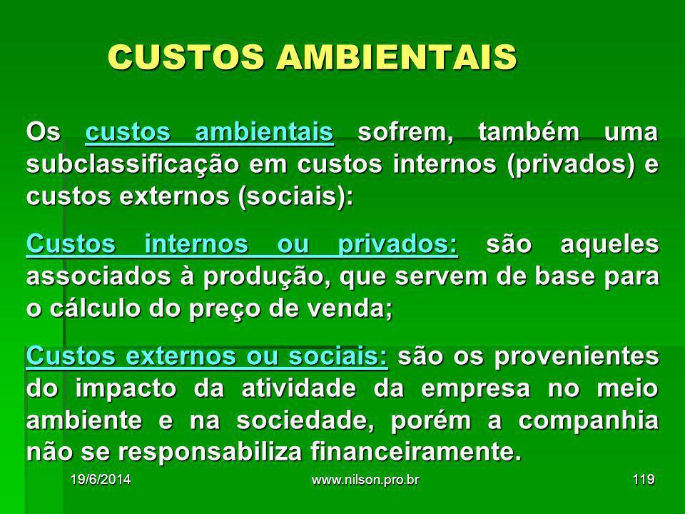 CUSTOS AMBIENTAIS Os custos ambientais sofrem, também uma subclassificação em custos internos (privados) e custos externos (sociais): Custos internos