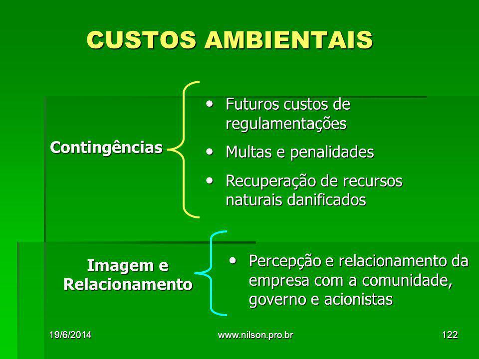 CUSTOS AMBIENTAIS • Futuros custos de regulamentações • Multas e penalidades • Recuperação de recursos naturais danificados Contingências • Percepção