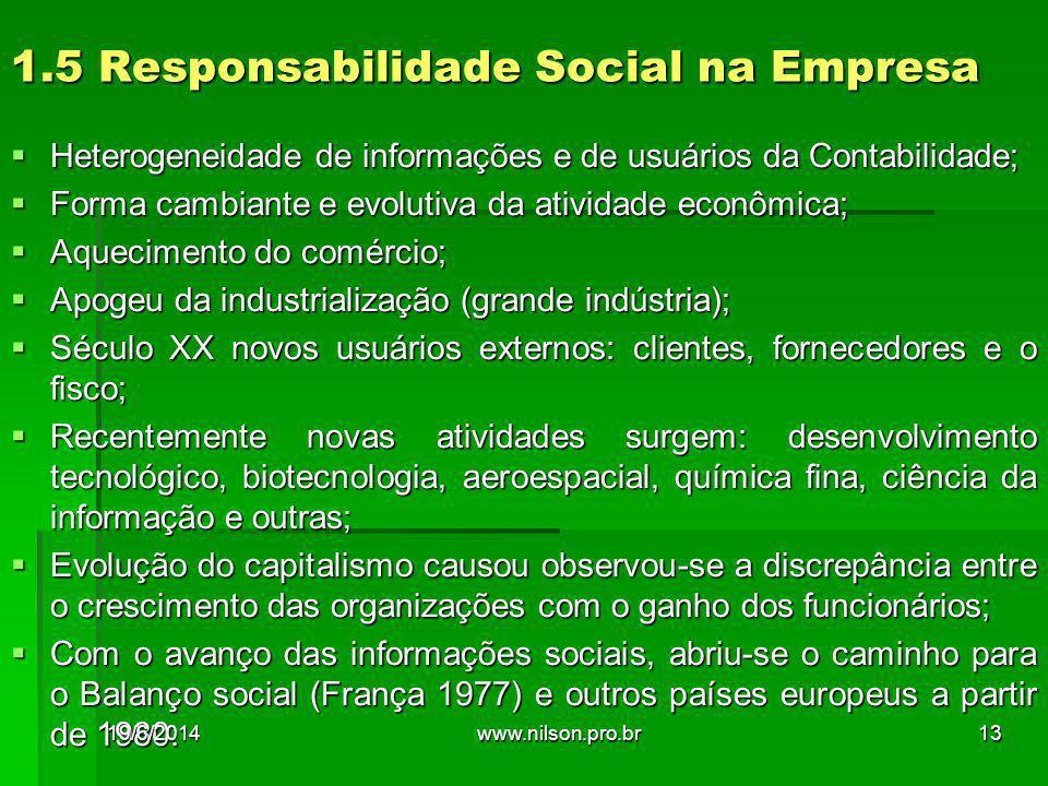 1.5 Responsabilidade Social na Empresa  Heterogeneidade de informações e de usuários da Contabilidade;  Forma cambiante e evolutiva da atividade eco