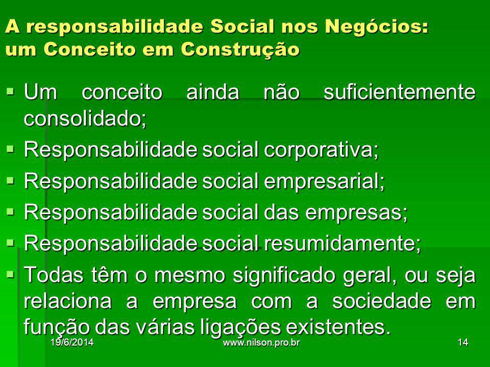 A responsabilidade Social nos Negócios: um Conceito em Construção  Um conceito ainda não suficientemente consolidado;  Responsabilidade social corpo