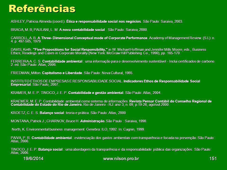 Referências ASHLEY, Patricia Almeida (coord.).Ética e responsabilidade social nos negócios.