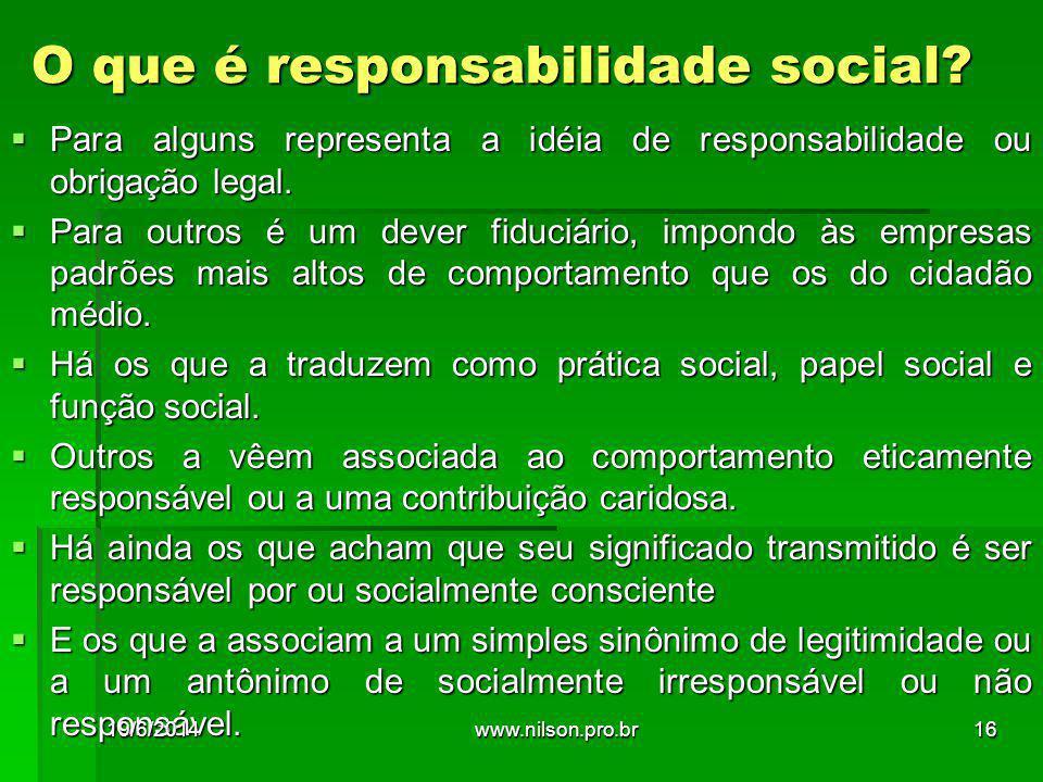 O que é responsabilidade social?  Para alguns representa a idéia de responsabilidade ou obrigação legal.  Para outros é um dever fiduciário, impondo