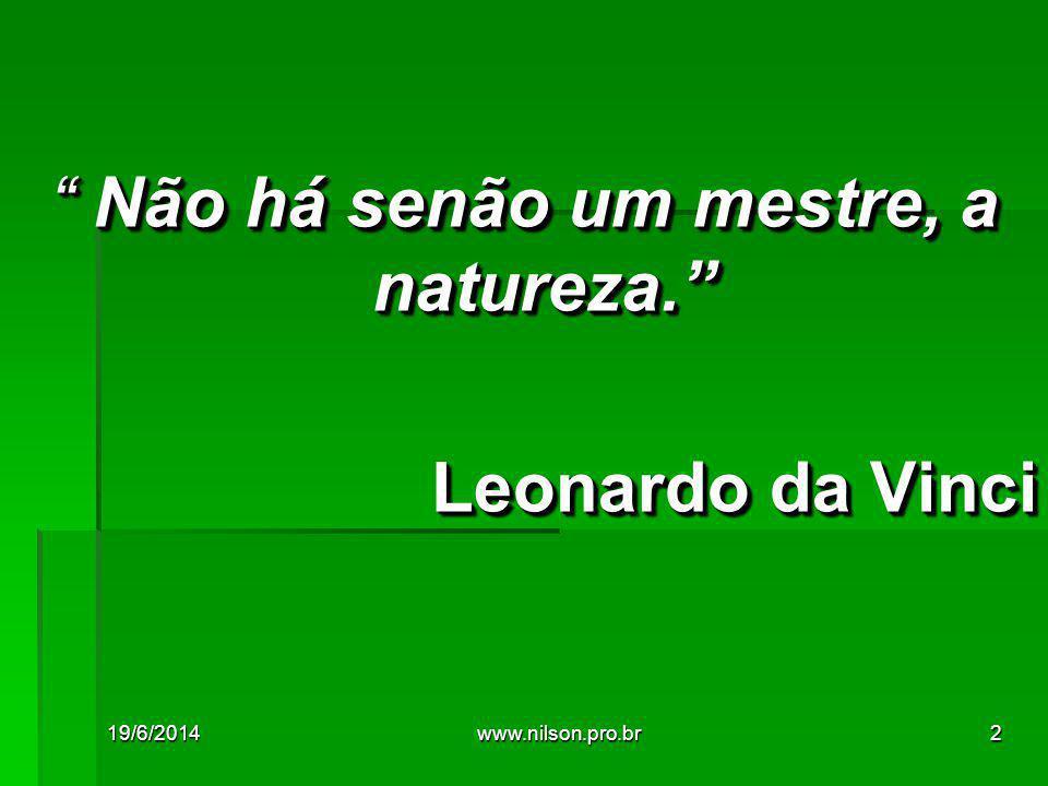 """"""" Não há senão um mestre, a natureza."""" Leonardo da Vinci """" Não há senão um mestre, a natureza."""" Leonardo da Vinci 19/6/20142www.nilson.pro.br"""