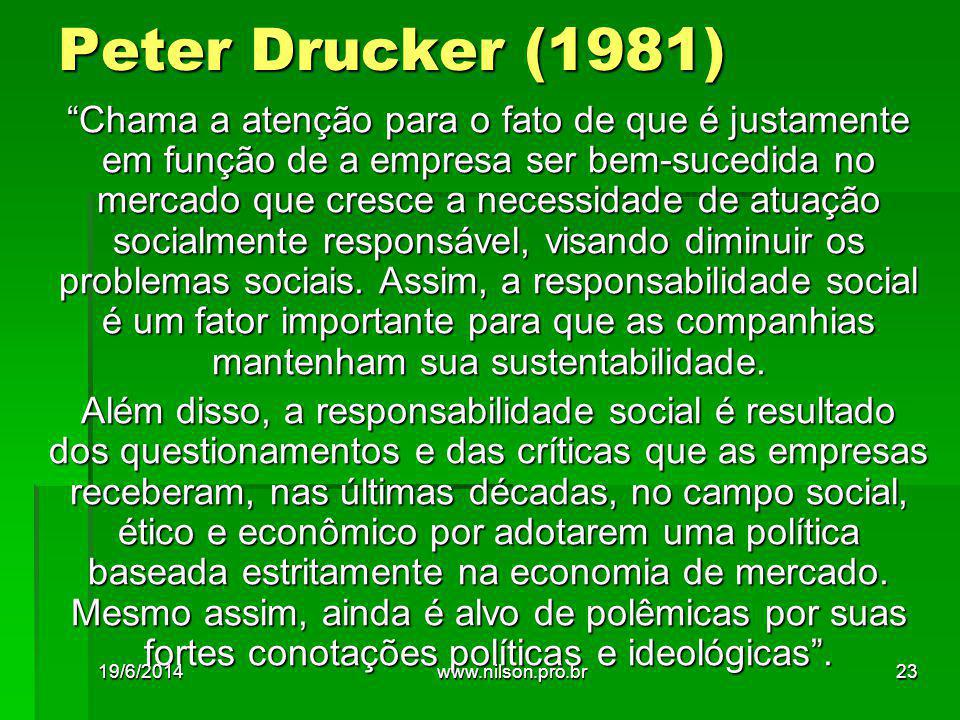 Peter Drucker (1981) Chama a atenção para o fato de que é justamente em função de a empresa ser bem-sucedida no mercado que cresce a necessidade de atuação socialmente responsável, visando diminuir os problemas sociais.
