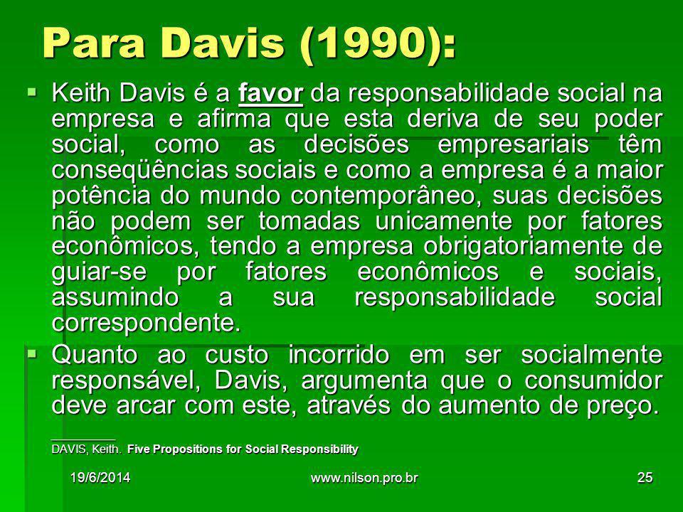  Keith Davis é a favor da responsabilidade social na empresa e afirma que esta deriva de seu poder social, como as decisões empresariais têm conseqüê