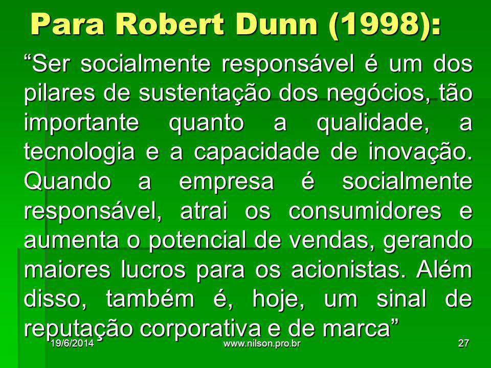 """Para Robert Dunn (1998): """"Ser socialmente responsável é um dos pilares de sustentação dos negócios, tão importante quanto a qualidade, a tecnologia e"""