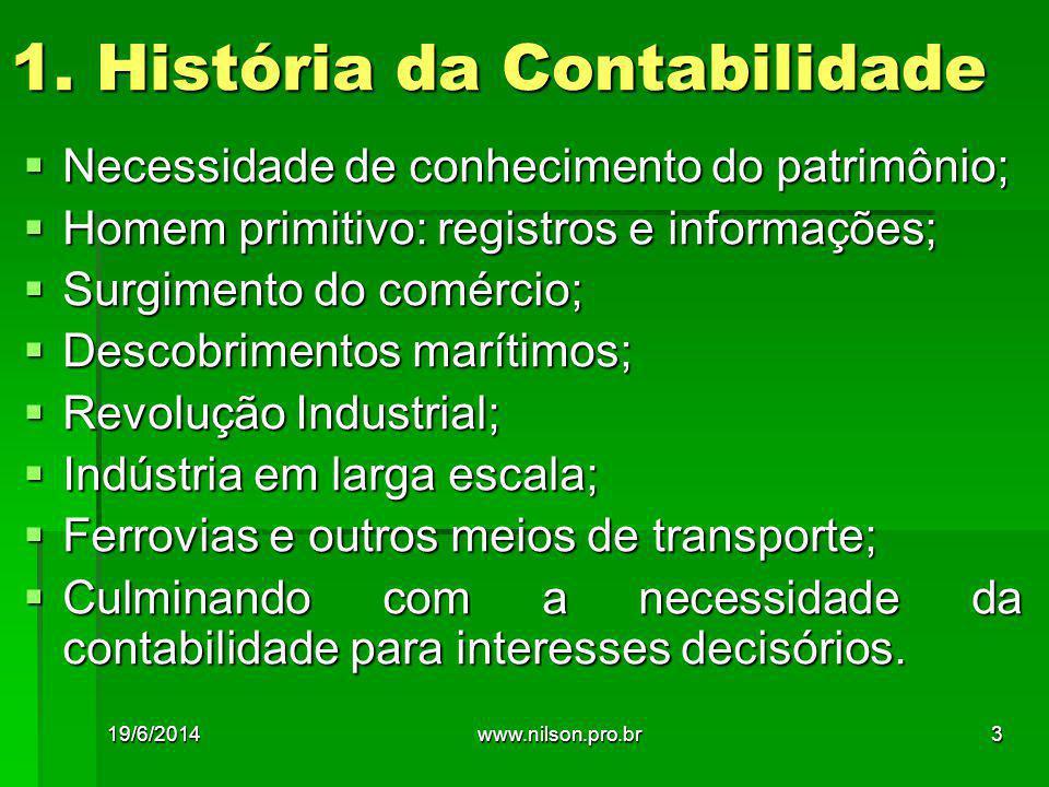 1. História da Contabilidade  Necessidade de conhecimento do patrimônio;  Homem primitivo: registros e informações;  Surgimento do comércio;  Desc