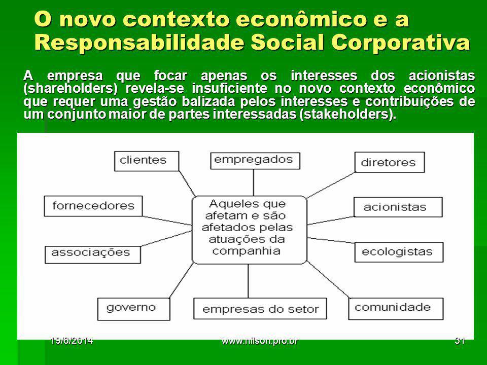 O novo contexto econômico e a Responsabilidade Social Corporativa A empresa que focar apenas os interesses dos acionistas (shareholders) revela-se ins