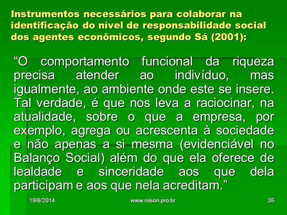 Instrumentos necessários para colaborar na identificação do nível de responsabilidade social dos agentes econômicos, segundo Sá (2001): O comportamento funcional da riqueza precisa atender ao indivíduo, mas igualmente, ao ambiente onde este se insere.