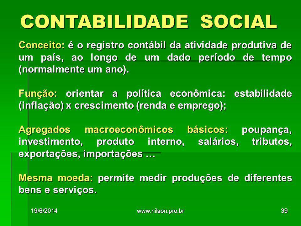CONTABILIDADE SOCIAL Conceito: é o registro contábil da atividade produtiva de um país, ao longo de um dado período de tempo (normalmente um ano). Fun