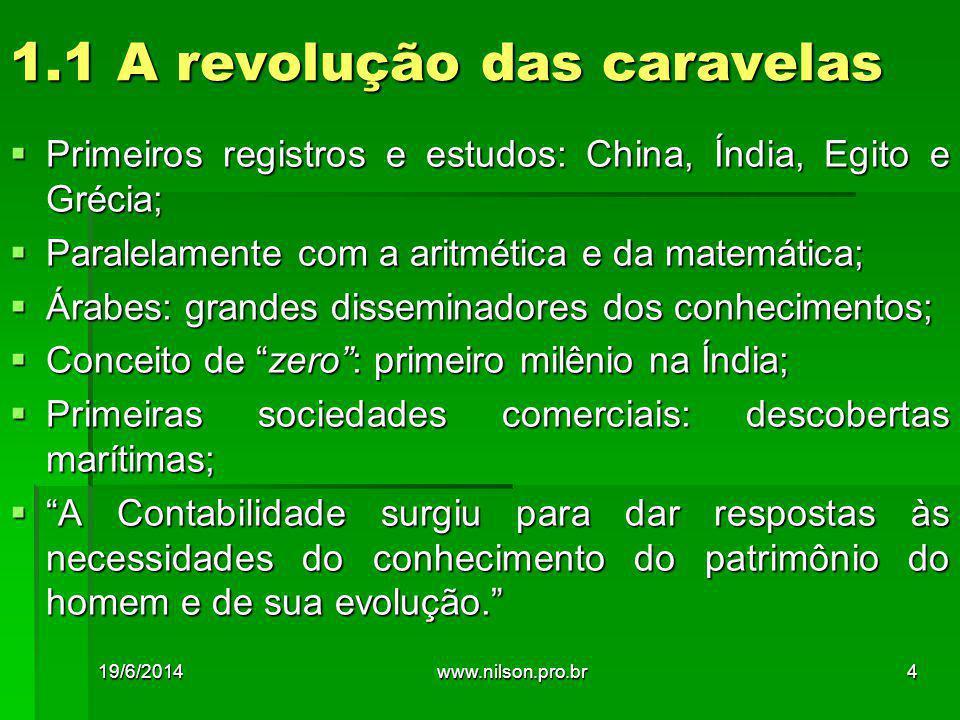 1.1 A revolução das caravelas  Primeiros registros e estudos: China, Índia, Egito e Grécia;  Paralelamente com a aritmética e da matemática;  Árabe