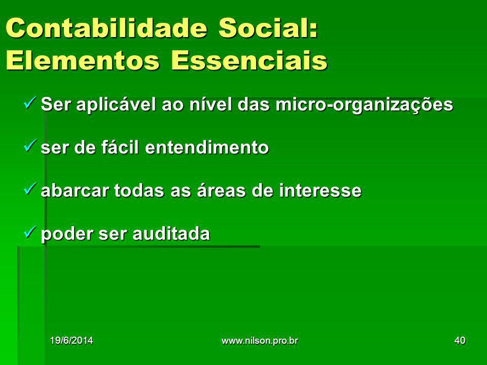  Ser aplicável ao nível das micro-organizações  ser de fácil entendimento  abarcar todas as áreas de interesse  poder ser auditada Contabilidade Social: Elementos Essenciais 19/6/201440www.nilson.pro.br