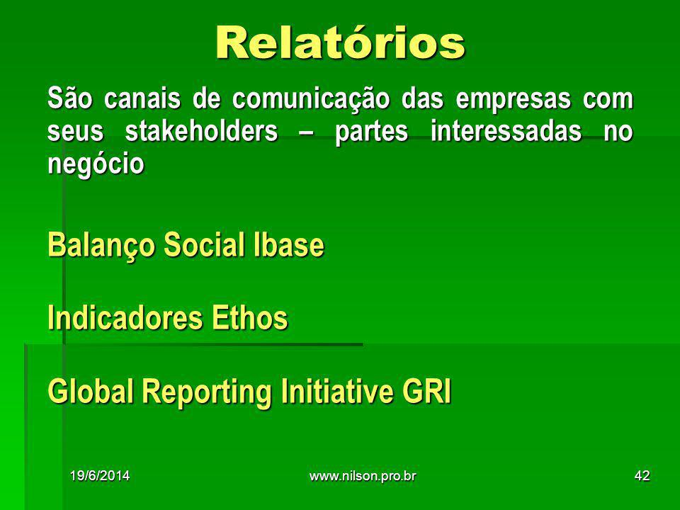 Relatórios São canais de comunicação das empresas com seus stakeholders – partes interessadas no negócio Balanço Social Ibase Indicadores Ethos Global Reporting Initiative GRI 19/6/201442www.nilson.pro.br
