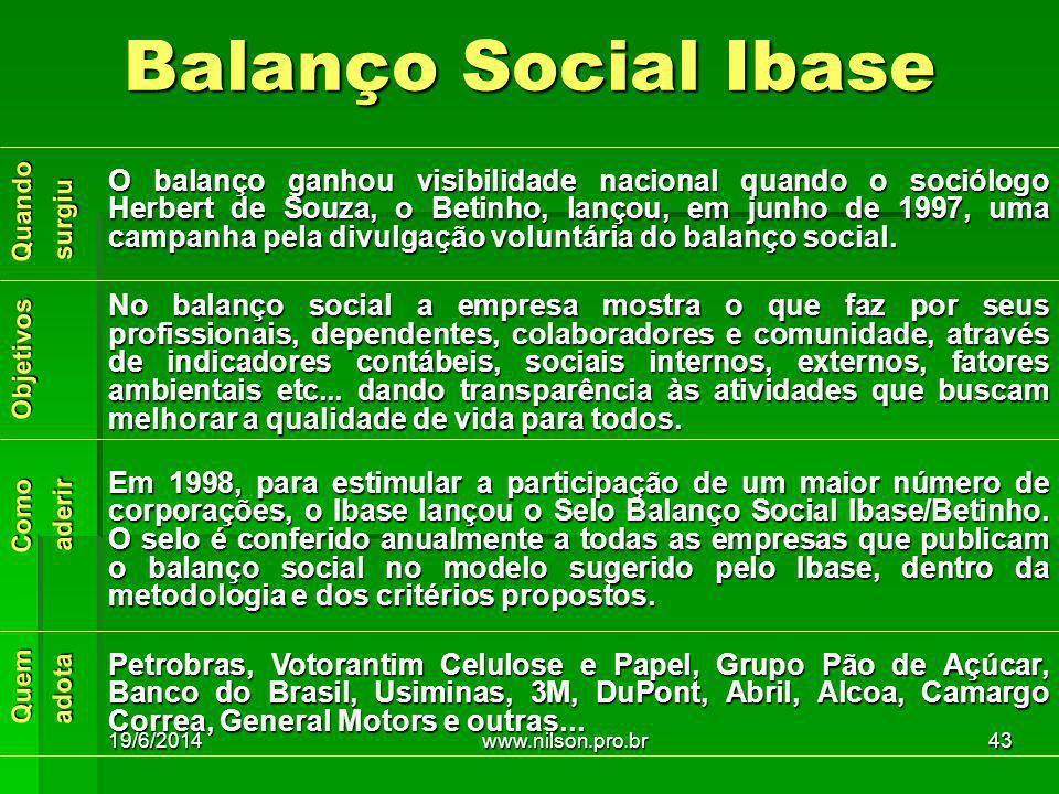 Quem Como Objetivos Quando adota aderir surgiu O balanço ganhou visibilidade nacional quando o sociólogo Herbert de Souza, o Betinho, lançou, em junho de 1997, uma campanha pela divulgação voluntária do balanço social.