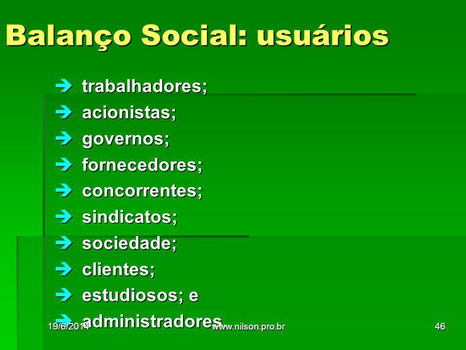 Balanço Social: usuários  trabalhadores;  acionistas;  governos;  fornecedores;  concorrentes;  sindicatos;  sociedade;  clientes;  estudiosos; e  administradores.