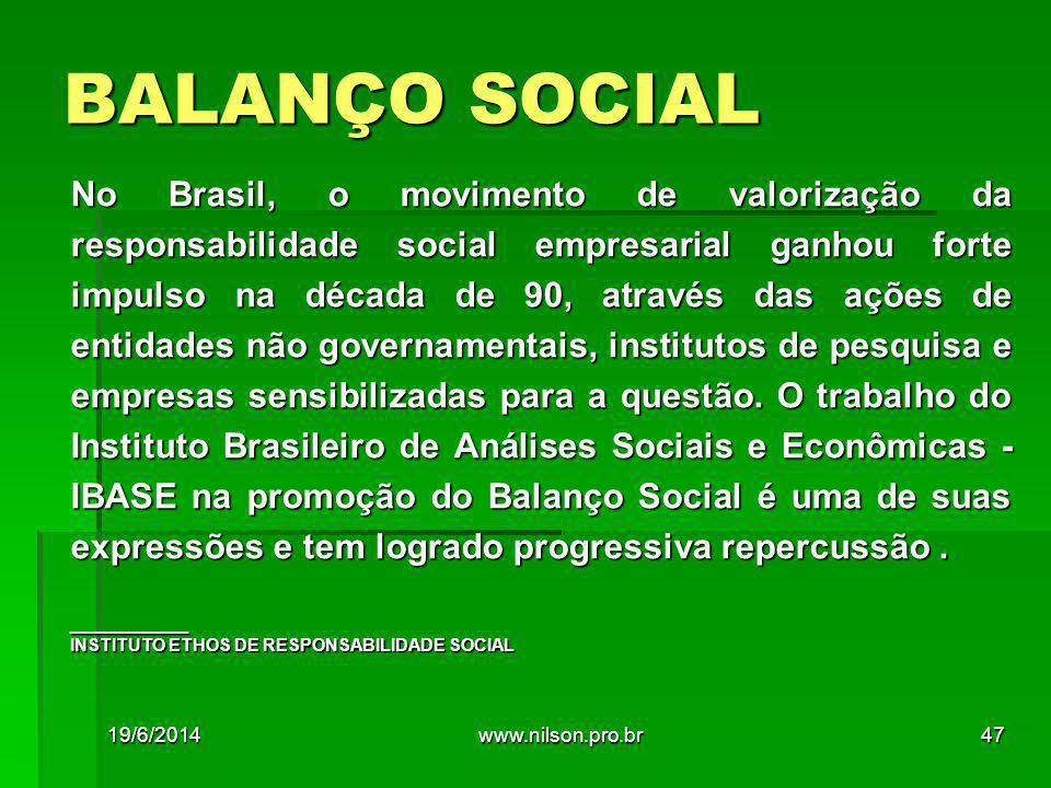 BALANÇO SOCIAL No Brasil, o movimento de valorização da responsabilidade social empresarial ganhou forte impulso na década de 90, através das ações de entidades não governamentais, institutos de pesquisa e empresas sensibilizadas para a questão.