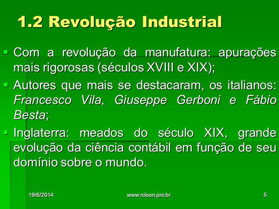 1.2 Revolução Industrial  Com a revolução da manufatura: apurações mais rigorosas (séculos XVIII e XIX);  Autores que mais se destacaram, os italian