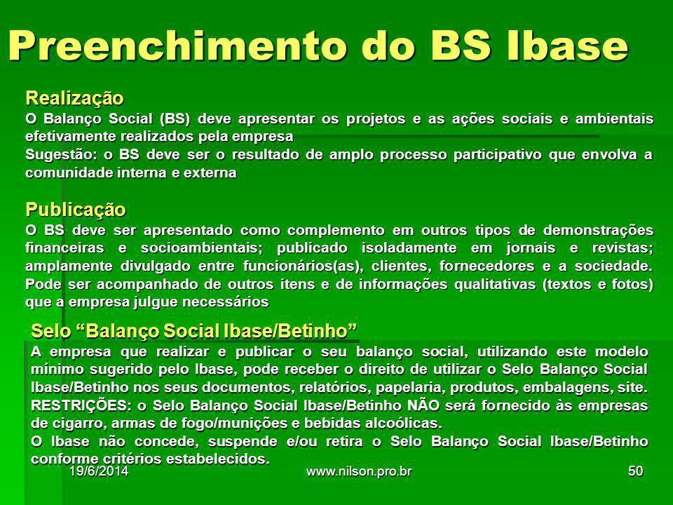 Realização O Balanço Social (BS) deve apresentar os projetos e as ações sociais e ambientais efetivamente realizados pela empresa Sugestão: o BS deve