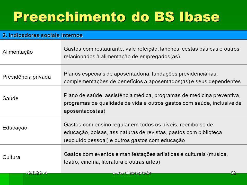 Preenchimento do BS Ibase 2. Indicadores sociais internos Alimentação Gastos com restaurante, vale-refeição, lanches, cestas básicas e outros relacion
