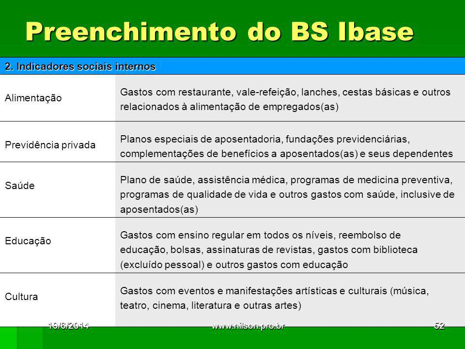 Preenchimento do BS Ibase 2.