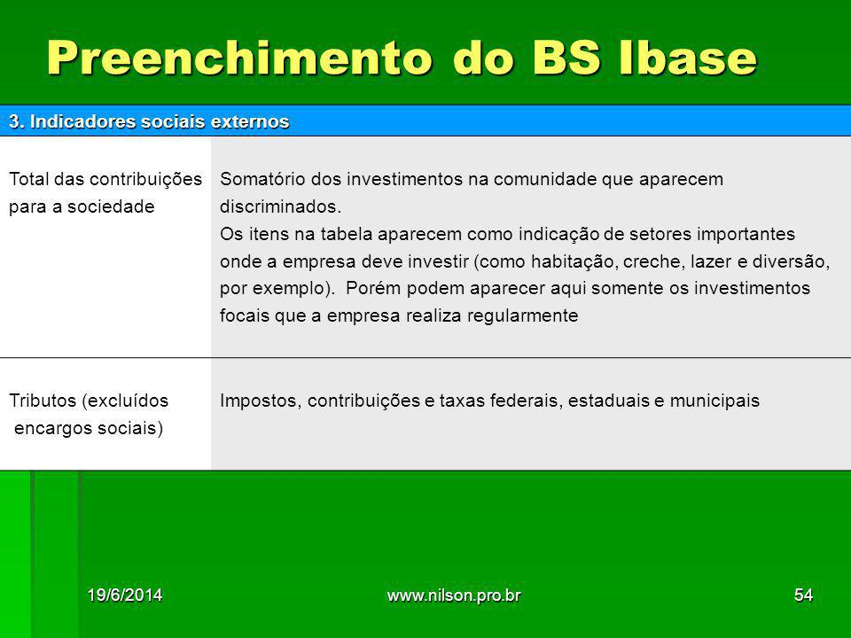 Preenchimento do BS Ibase 3.