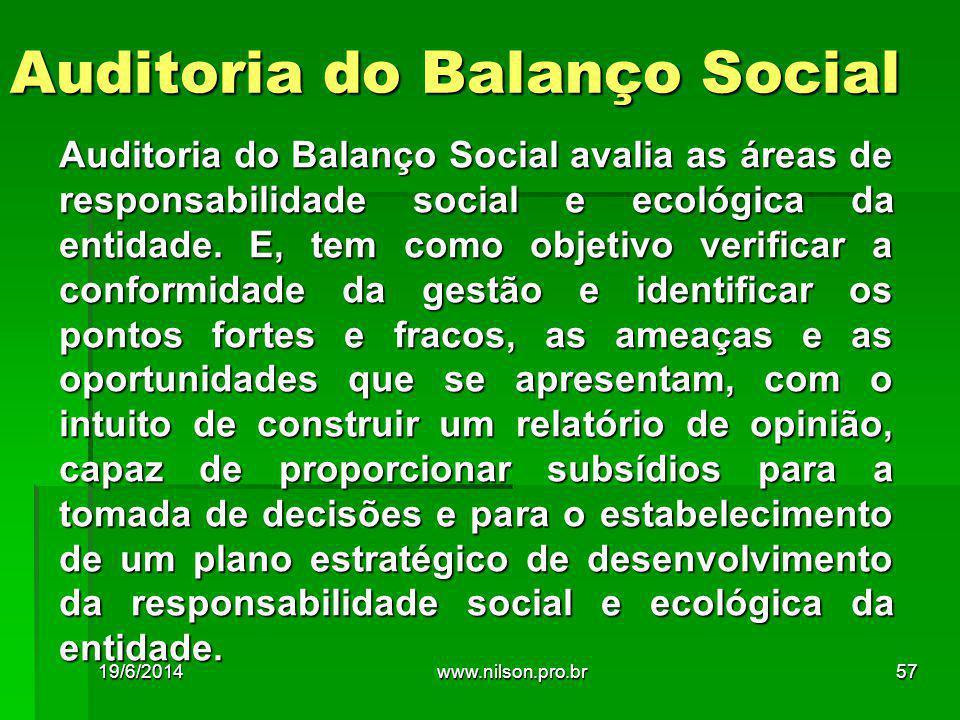 Auditoria do Balanço Social Auditoria do Balanço Social avalia as áreas de responsabilidade social e ecológica da entidade. E, tem como objetivo verif