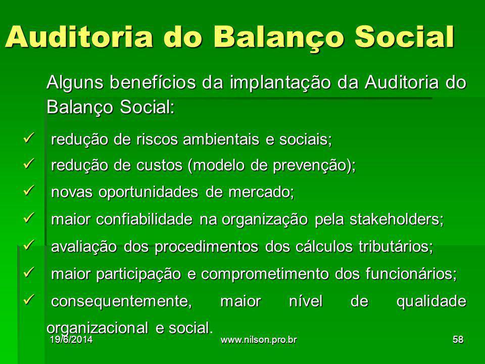 Auditoria do Balanço Social Alguns benefícios da implantação da Auditoria do Balanço Social:  redução de riscos ambientais e sociais;  redução de cu