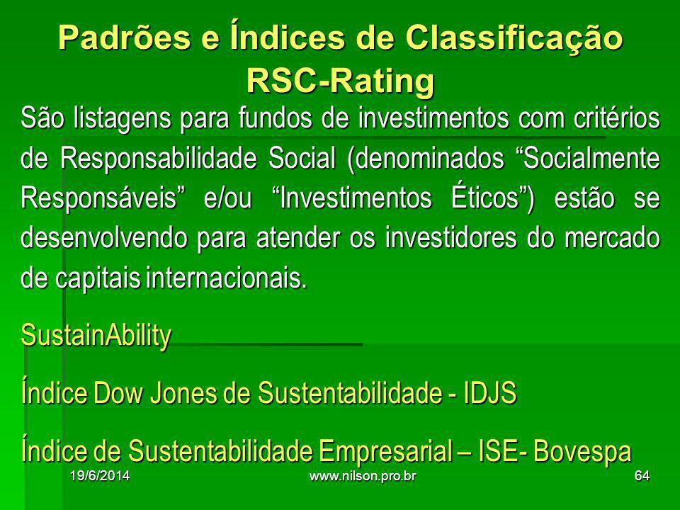 São listagens para fundos de investimentos com critérios de Responsabilidade Social (denominados Socialmente Responsáveis e/ou Investimentos Éticos ) estão se desenvolvendo para atender os investidores do mercado de capitais internacionais.