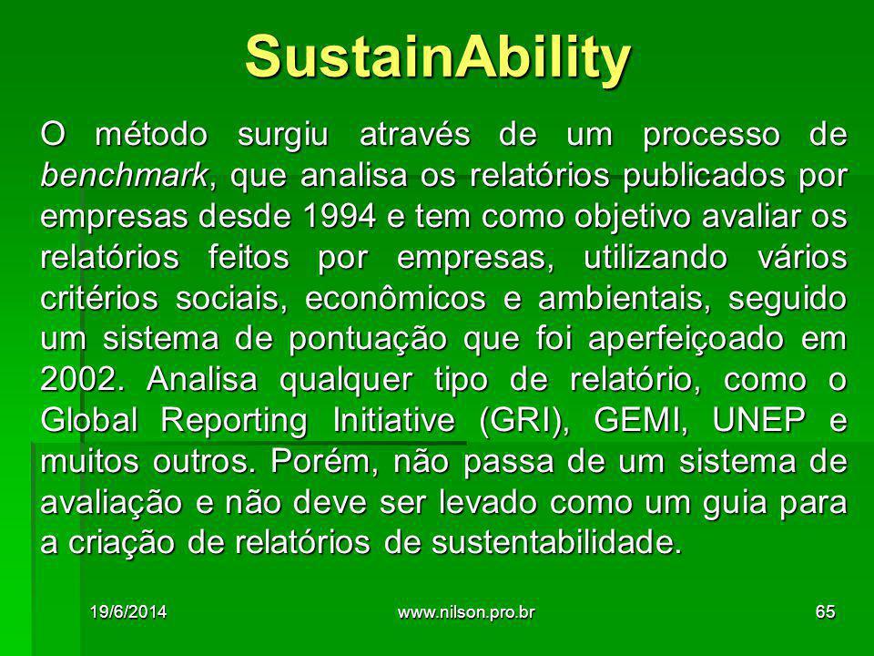 O método surgiu através de um processo de benchmark, que analisa os relatórios publicados por empresas desde 1994 e tem como objetivo avaliar os relatórios feitos por empresas, utilizando vários critérios sociais, econômicos e ambientais, seguido um sistema de pontuação que foi aperfeiçoado em 2002.