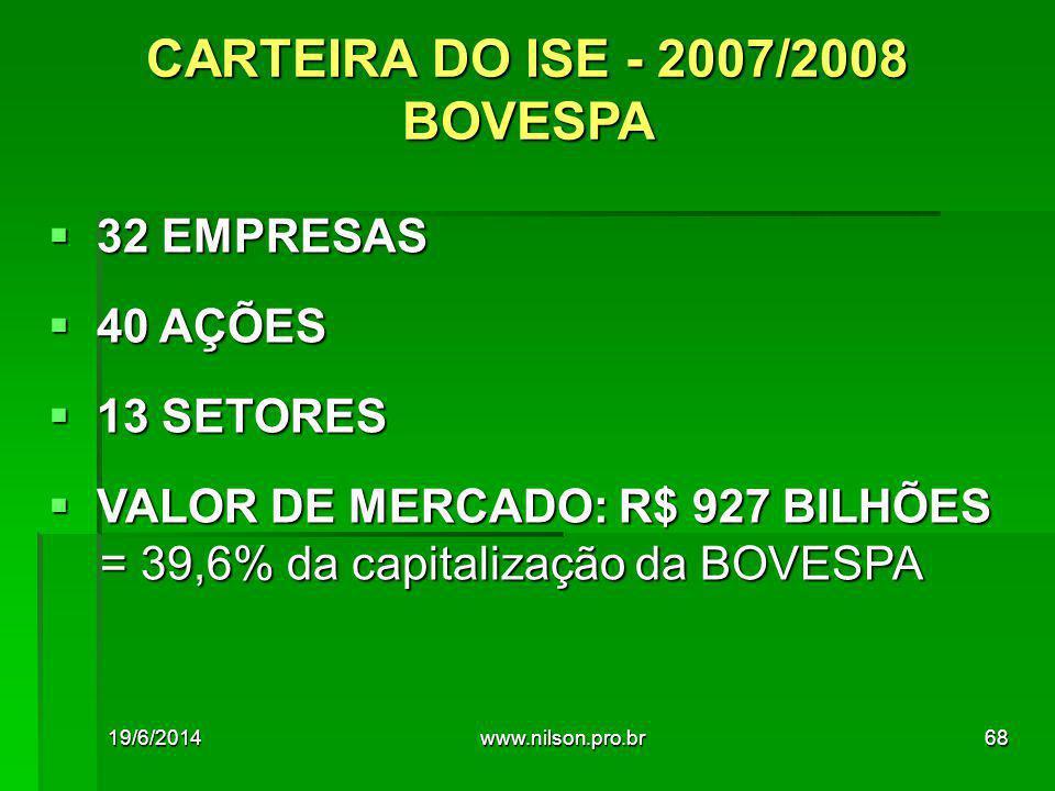  32 EMPRESAS  40 AÇÕES  13 SETORES  VALOR DE MERCADO: R$ 927 BILHÕES = 39,6% da capitalização da BOVESPA = 39,6% da capitalização da BOVESPA CARTEIRA DO ISE - 2007/2008 BOVESPA 19/6/201468www.nilson.pro.br