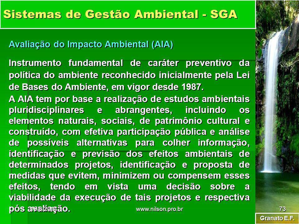 Granato E.F. Sistemas de Gestão Ambiental - SGA Avaliação do Impacto Ambiental (AIA) Instrumento fundamental de caráter preventivo da política do ambi