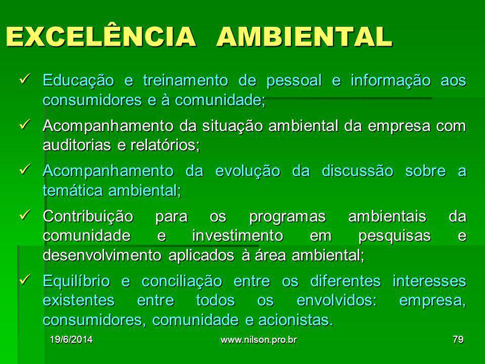 EXCELÊNCIA AMBIENTAL  Educação e treinamento de pessoal e informação aos consumidores e à comunidade;  Acompanhamento da situação ambiental da empre