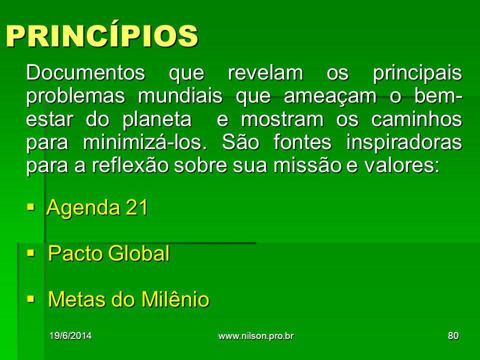 PRINCÍPIOS Documentos que revelam os principais problemas mundiais que ameaçam o bem- estar do planeta e mostram os caminhos para minimizá-los.