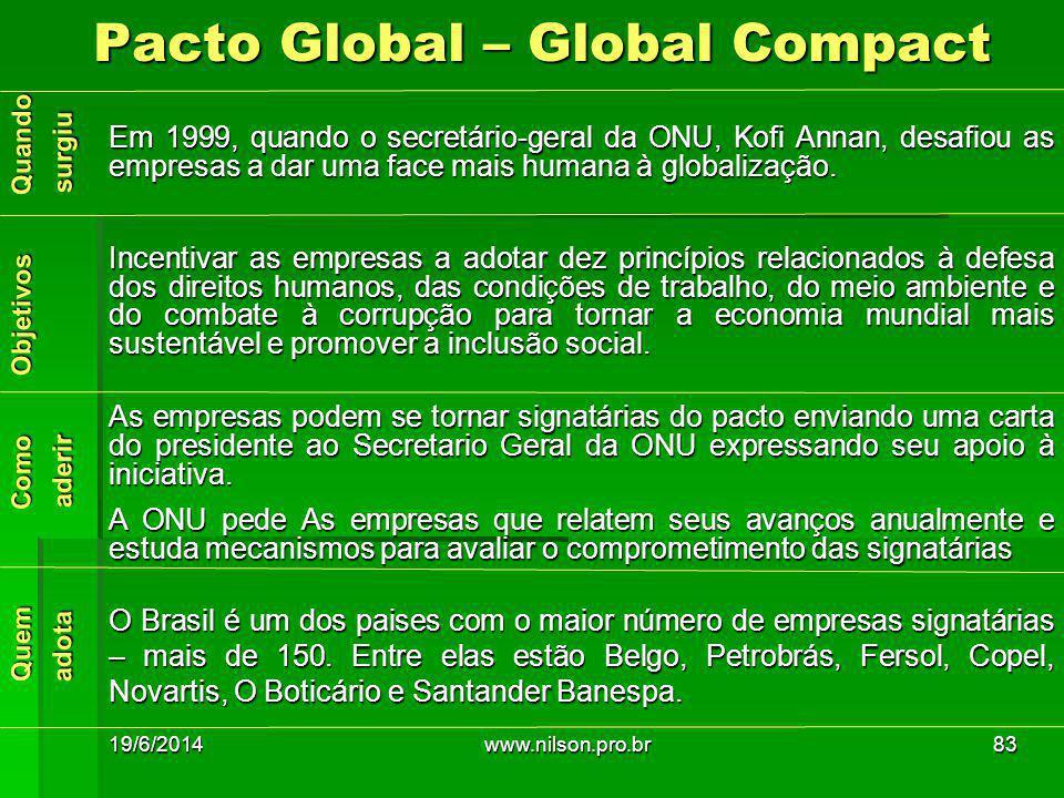 Em 1999, quando o secretário-geral da ONU, Kofi Annan, desafiou as empresas a dar uma face mais humana à globalização. Incentivar as empresas a adotar