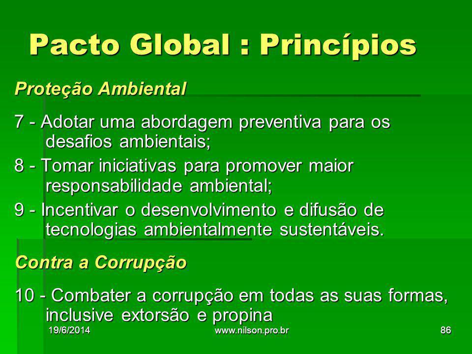 Proteção Ambiental 7 - Adotar uma abordagem preventiva para os desafios ambientais; 8 - Tomar iniciativas para promover maior responsabilidade ambient