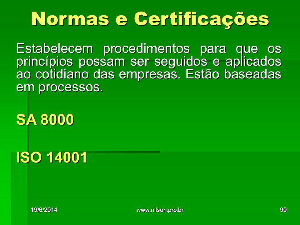 Estabelecem procedimentos para que os princípios possam ser seguidos e aplicados ao cotidiano das empresas. Estão baseadas em processos. SA 8000 ISO 1