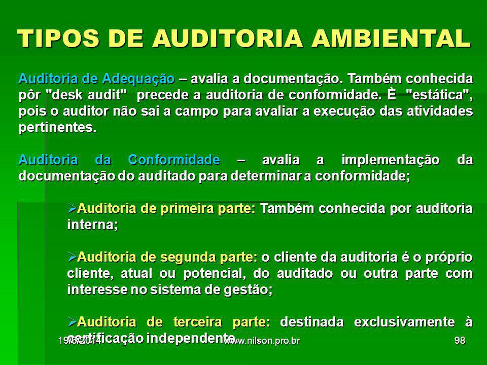 TIPOS DE AUDITORIA AMBIENTAL Auditoria de Adequação – avalia a documentação. Também conhecida pôr