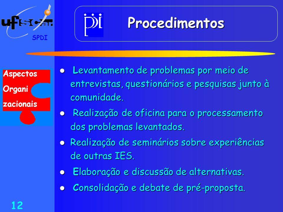 SPDI 12 Procedimentos  Levantamento de problemas por meio de entrevistas, questionários e pesquisas junto à comunidade.  Realização de oficina para