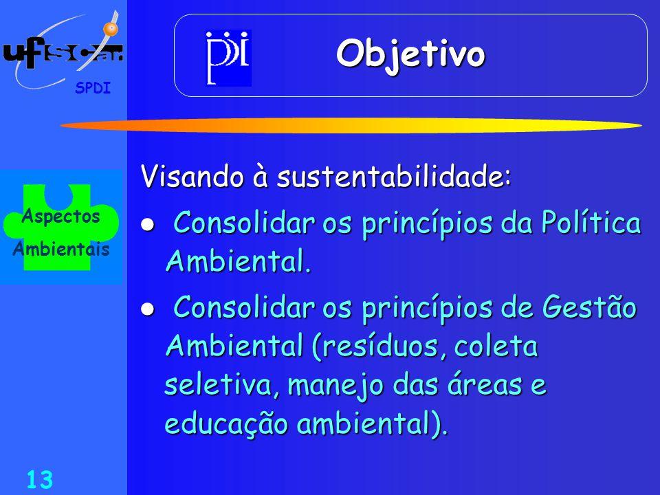 SPDI 13 Visando à sustentabilidade:  Consolidar os princípios da Política Ambiental.  Consolidar os princípios de Gestão Ambiental (resíduos, coleta