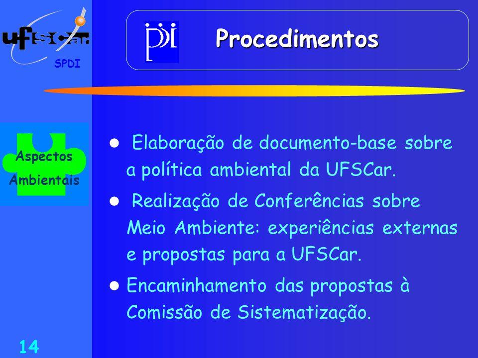 SPDI 14  Elaboração de documento-base sobre a política ambiental da UFSCar.  Realização de Conferências sobre Meio Ambiente: experiências externas e