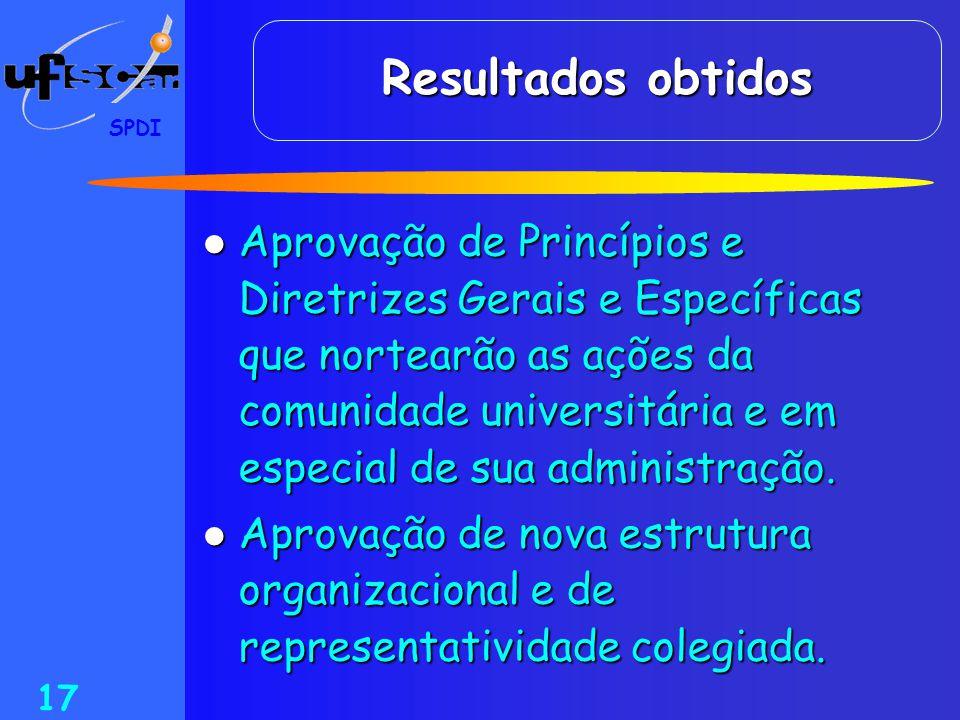 SPDI 17 Resultados obtidos  Aprovação de Princípios e Diretrizes Gerais e Específicas que nortearão as ações da comunidade universitária e em especia