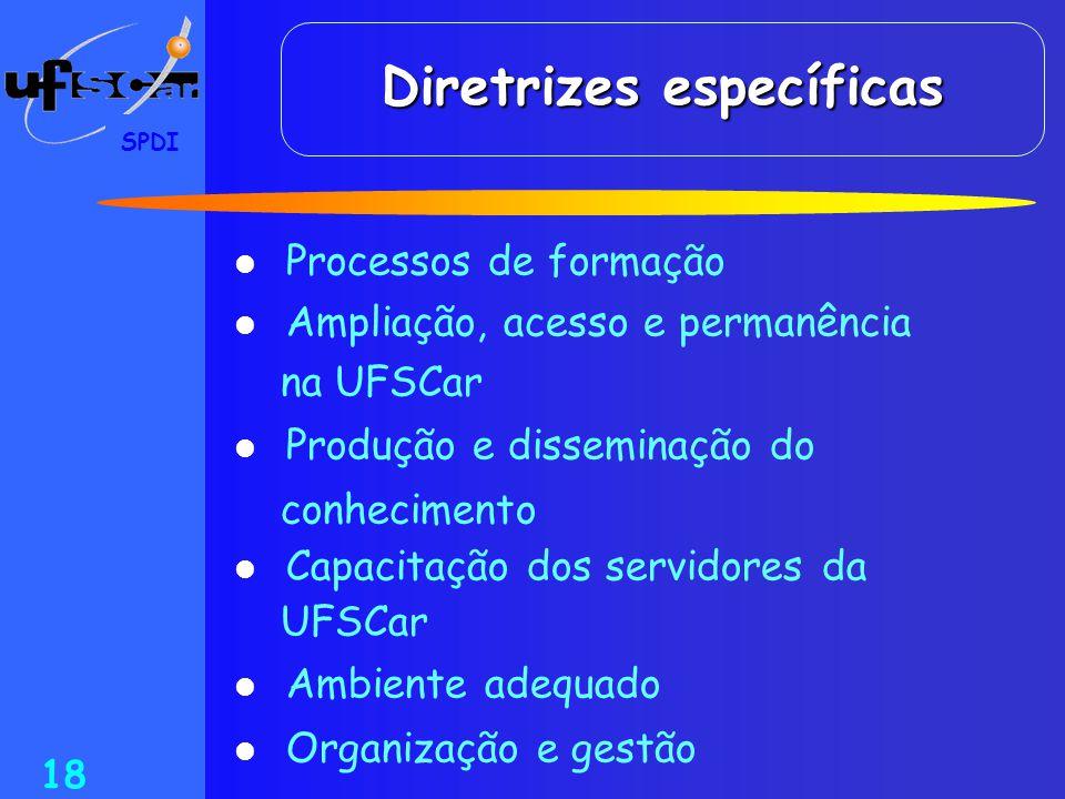 SPDI 18 Diretrizes específicas  Processos de formação  Ampliação, acesso e permanência na UFSCar  Produção e disseminação do conhecimento  Capacit