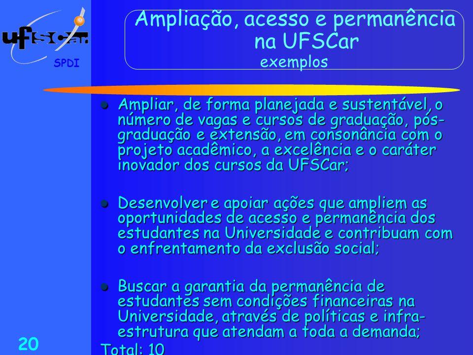 SPDI 20 Ampliação, acesso e permanência na UFSCar exemplos  Ampliar, de forma planejada e sustentável, o número de vagas e cursos de graduação, pós-