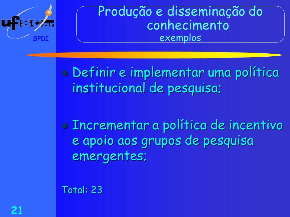 SPDI 21 Produção e disseminação do conhecimento exemplos  Definir e implementar uma política institucional de pesquisa;  Incrementar a política de i