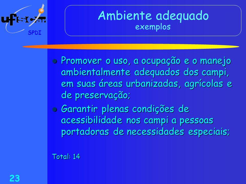 SPDI 23 Ambiente adequado exemplos  Promover o uso, a ocupação e o manejo ambientalmente adequados dos campi, em suas áreas urbanizadas, agrícolas e