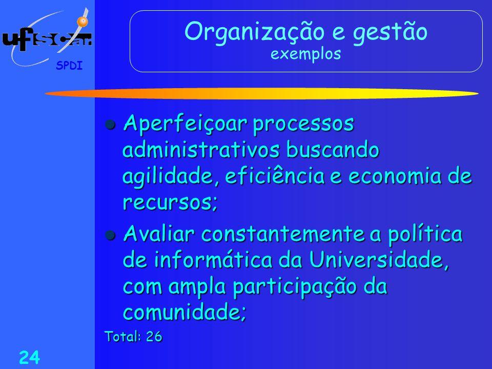 SPDI 24 Organização e gestão exemplos  Aperfeiçoar processos administrativos buscando agilidade, eficiência e economia de recursos;  Avaliar constan