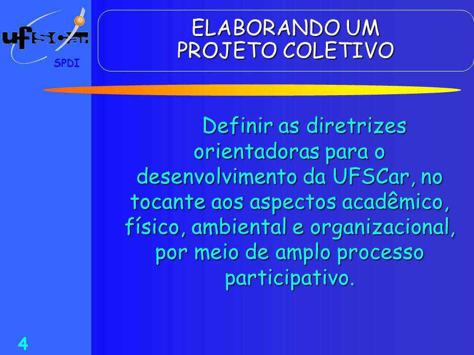 SPDI 4 ELABORANDO UM PROJETO COLETIVO Definir as diretrizes orientadoras para o desenvolvimento da UFSCar, no tocante aos aspectos acadêmico, físico,