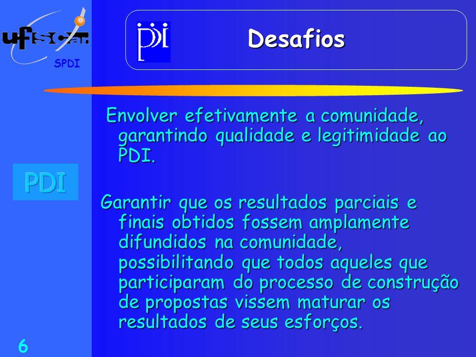 SPDI 7 Estrutura de Trabalho Estrutura de Trabalho Diagnósticos Problemas Questões Soluções Diretrizes para o PDI Equipe Reitoria e Grupo Âncora Acadêmicos Físicos Organiza cionais Ambientais C O R P O S O C I A L DA U F S C a r