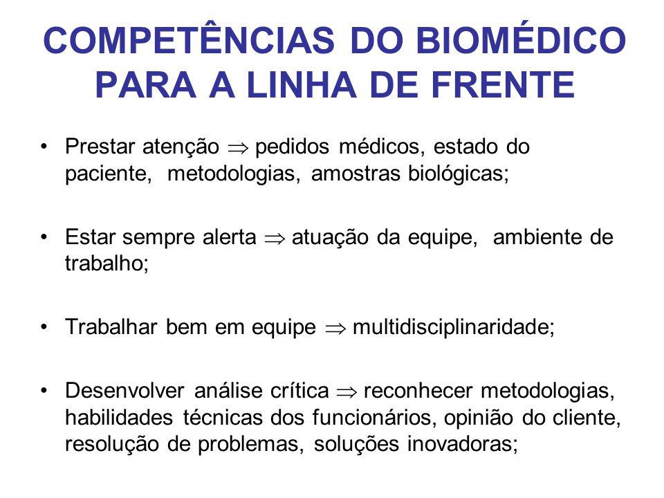 COMPETÊNCIAS DO BIOMÉDICO PARA A LINHA DE FRENTE •Prestar atenção  pedidos médicos, estado do paciente, metodologias, amostras biológicas; •Estar sem